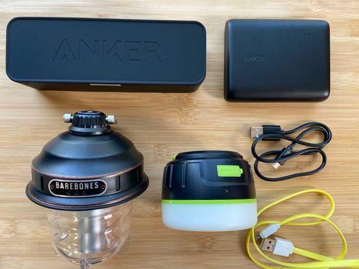 代用ケースに収納したランタンやスピーカーやモバイルバッテリー達