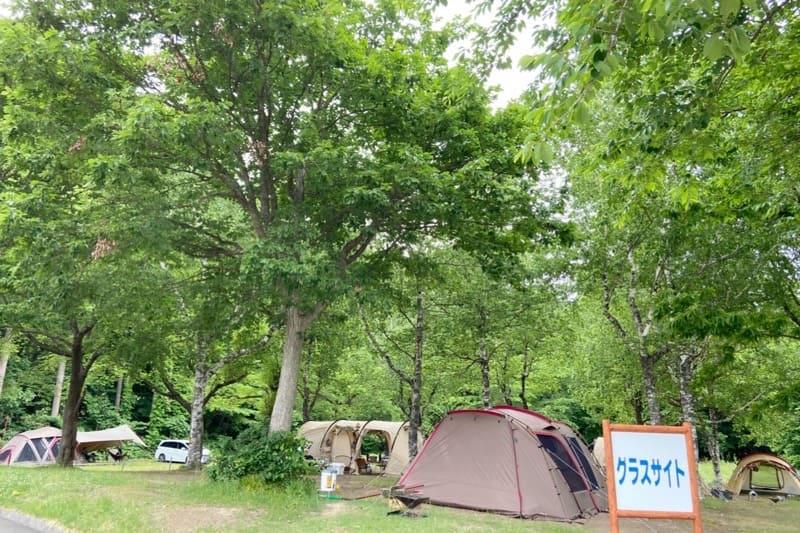 秋田県とことん山キャンプ場:グラスサイトで一部車が停めれます