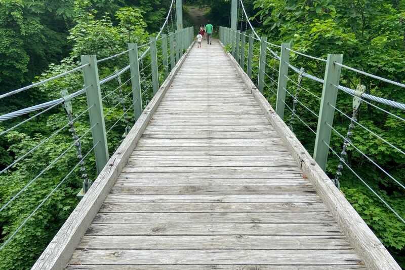 秋田県とことん山キャンプ場:夢の吊り橋