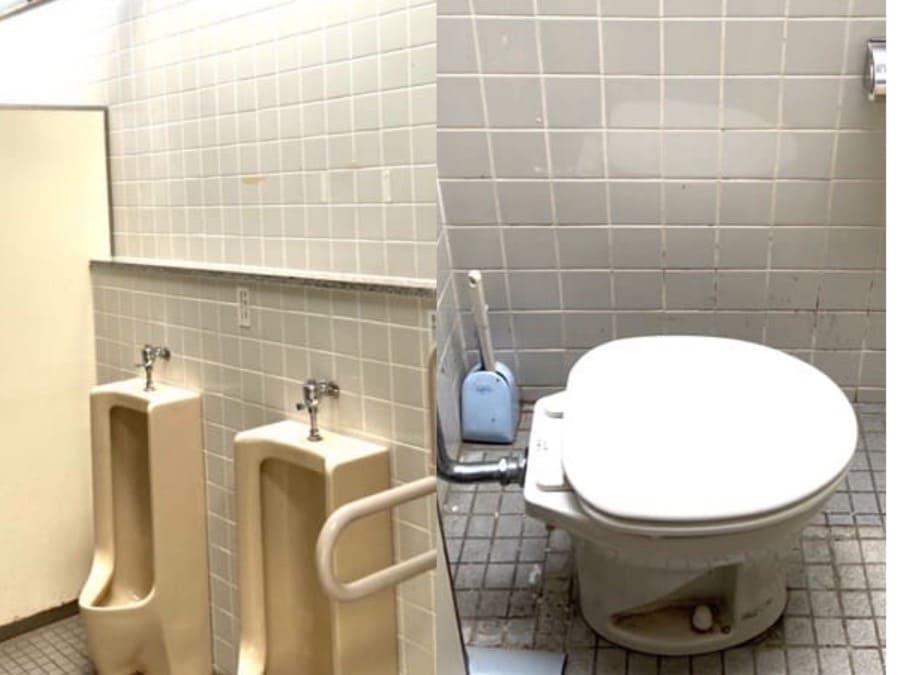 宮城県加瀬沼公園の第一駐車場の男子トイレ